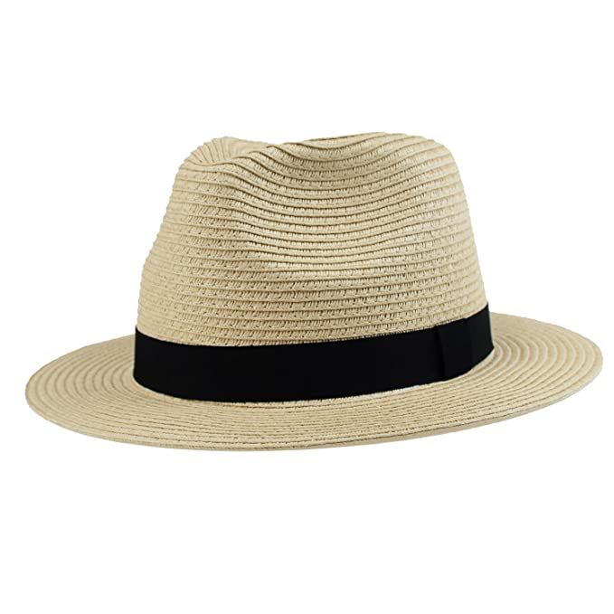7d11a9e1b Men's Panama Summer Fedora Havana Straw Beach Sun Hat Jazz Travel Cap  Natural