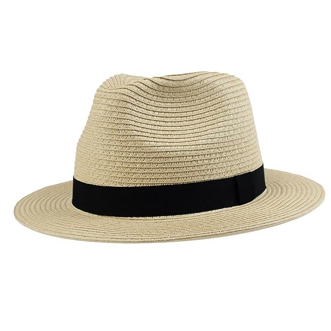 Men s Panama Summer Fedora Havana Straw Beach Sun Hat Jazz Travel Cap  Natural 7642a44040a