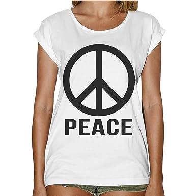 Women Fashion Symbol Peace Minimal Peace T Shirt White Amazon