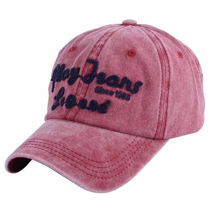 Llxln Nueva Moda Mujer Hombre Gorra Lavable Estilo Denim Caps Deportes  Sombreros Unisex Algodón Gorras Snapback Activa Vino Rojo  Amazon.es  Ropa  y ... da557b56bf1