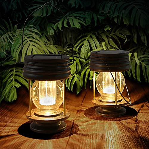 Hanging Solar Lights Outdoor – 2 Pack Solar Powered Waterproof Landscape Lanterns with Retro Design for Patio, Yard, Garden and Pathway Decoration Warm Light