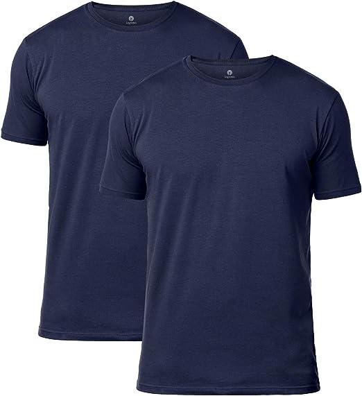LAPASA Uomo T Shirt Pacco da 2 Cotone ELS Premium Maglietta Girocollo Soffice e Flessibile Slim Fit Maniche Corte M05