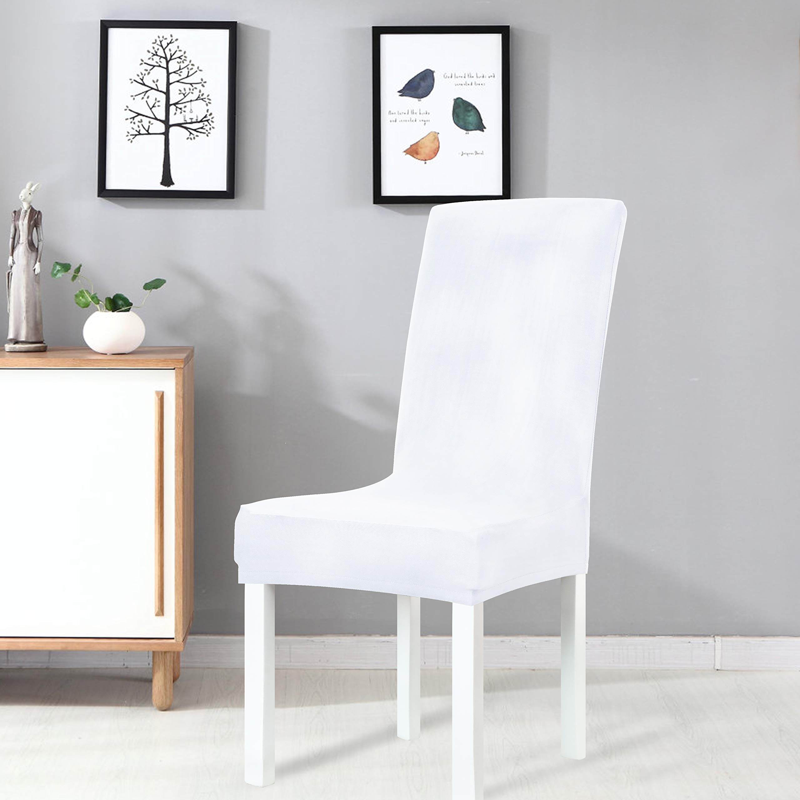 White Dining Room Chair Slipcovers: Obstal White Stretch Spandex Dining Room Chair Covers