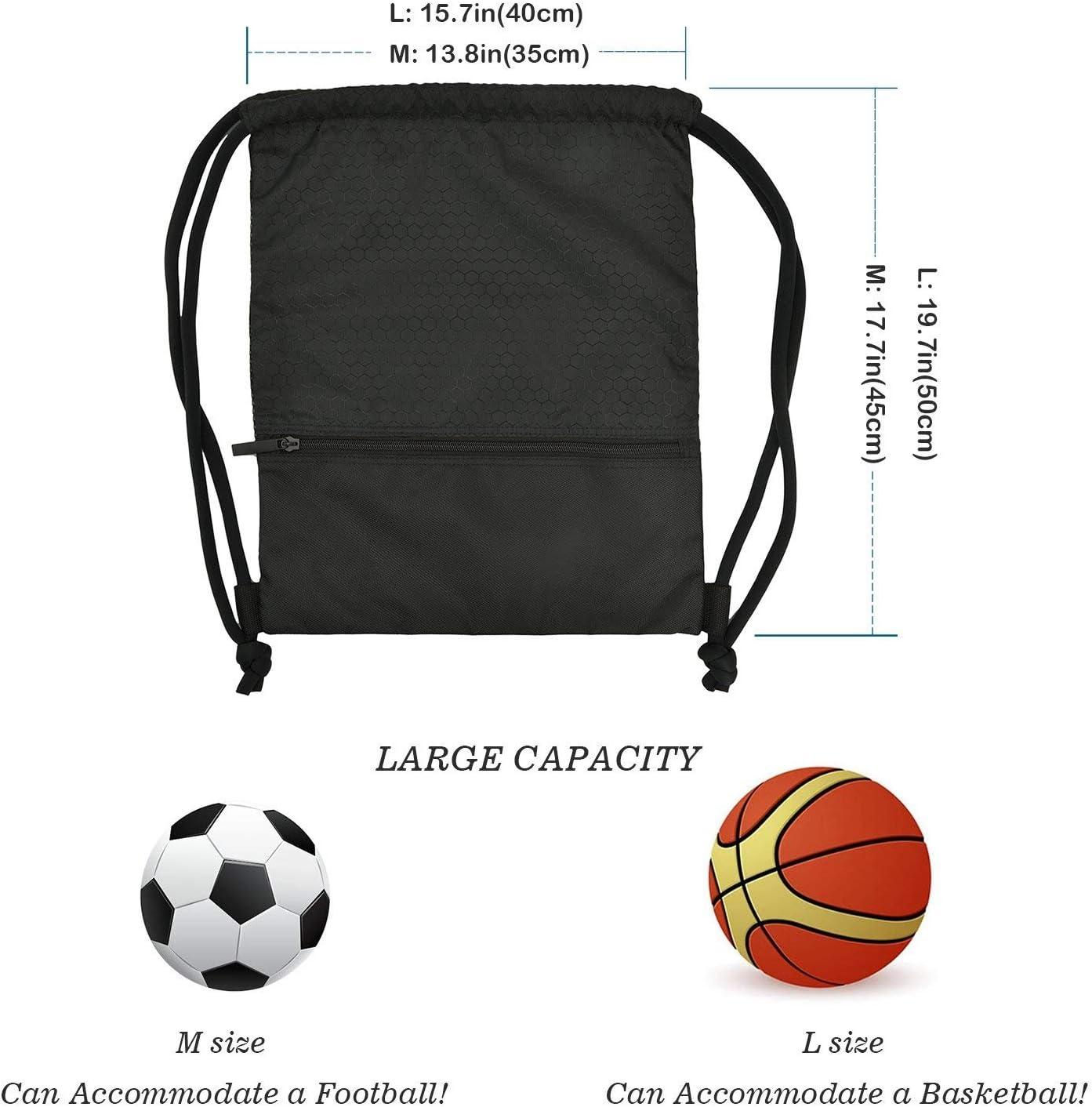 f/útbol Fitness Compras Impermeable Mochila Drawstring Gymsack con Gran Bolsillo de Cremallera para Baloncesto Viajes nataci/ón WinCret Sackpack para Hombres Mujeres Ni/ños