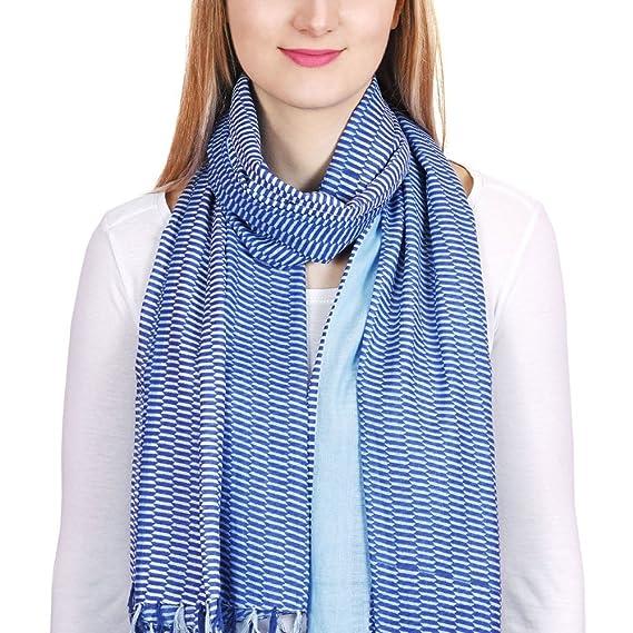 591265a4dc2 Allée du foulard Chèche coton Escala Bleu  Amazon.fr  Vêtements et ...