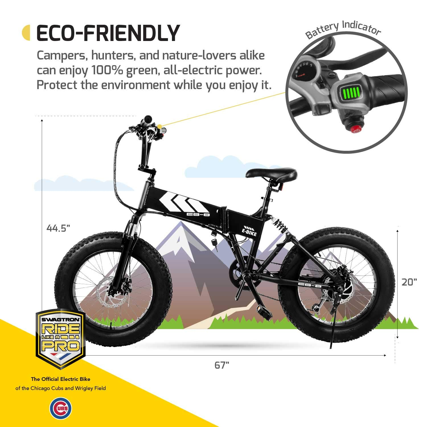 5f562758ccd Amazon.com : Swagtron EB-8 Outlaw Fat Tire Electric Bike - Foldable  Off-Road Fat eBike 20-inch Wheels with Power Assist, Freehub and Shimano  7-Speed Gear ...