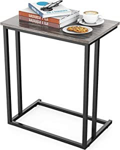 Side Table, C-Shaped End Table Modern Sofa Table Durable Wood Table Coffee Table Snack Table for Sofa, Couch, Bed in Living Room, Bedroom and Other Small Place, Grey