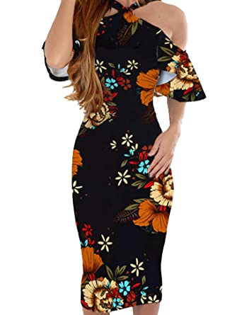 69d96f60dd92 Murimia Womens Summer Cold Shoulder Strap Ruffle Floral Midi Dress Black