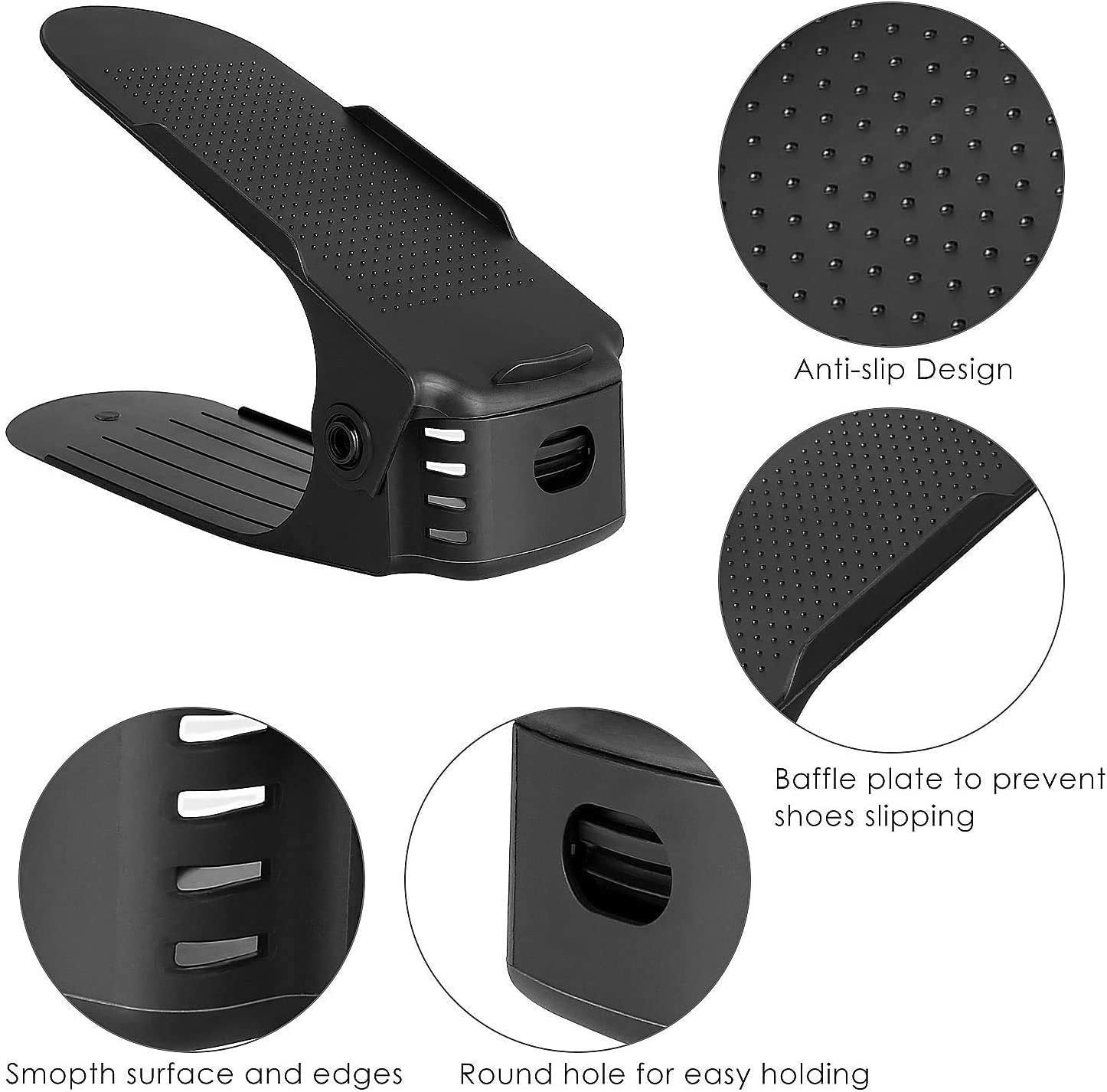 femor Adjustable Plastic Shoe Holders Pack of 10 Black Black