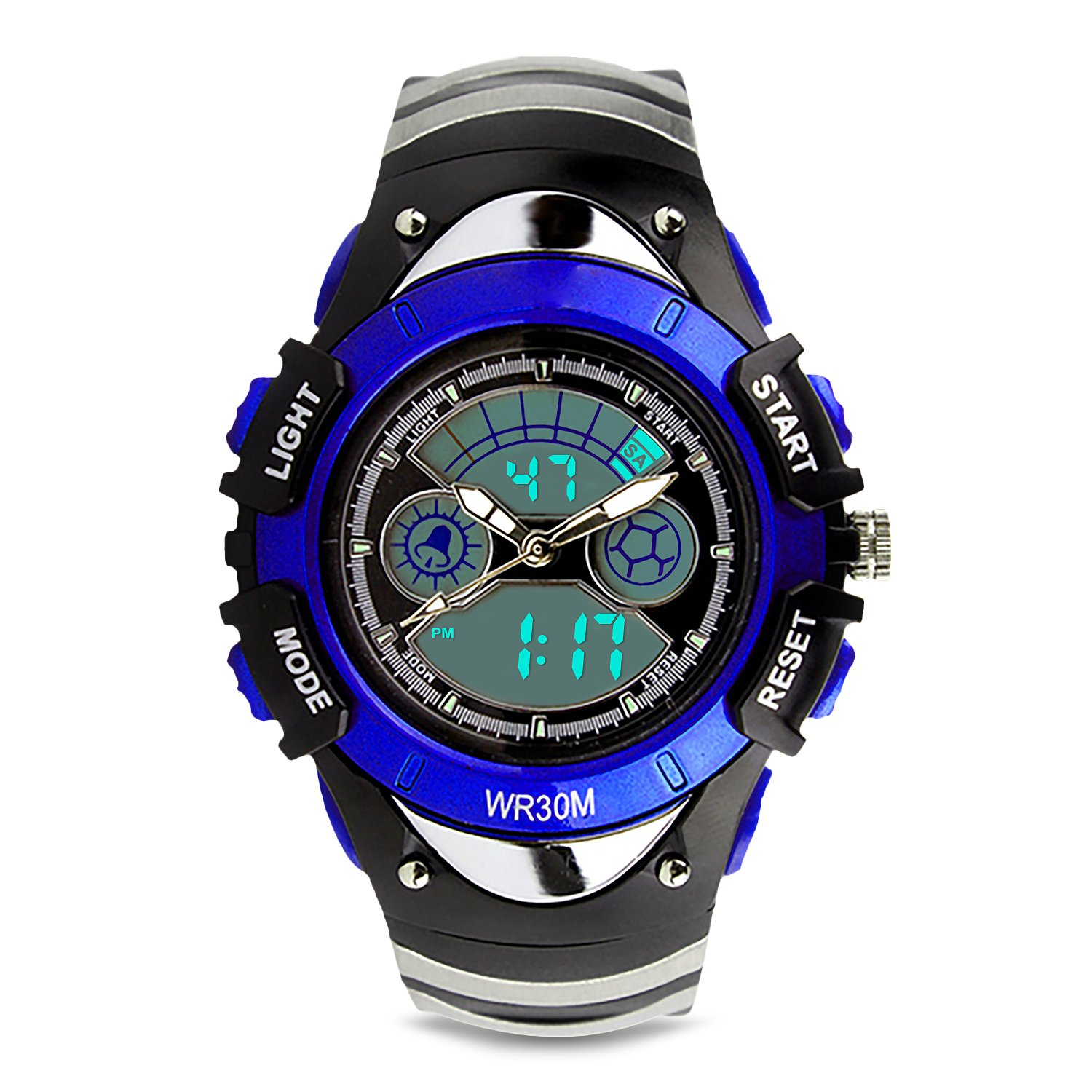 Aposon Kids Sports Digital Watch for Boys Girls Outdoor Analog Quartz Military Wrist Watches Waterproof LED Screen Dual Time Electronics Watch with Night Light Alarm Chronograph Stopwatch - Blue