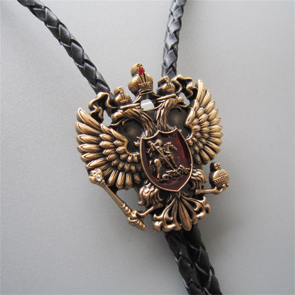 Vintage Gold Plated Russian Double Headed Empire Eagle Rhinestone Bolo Tie