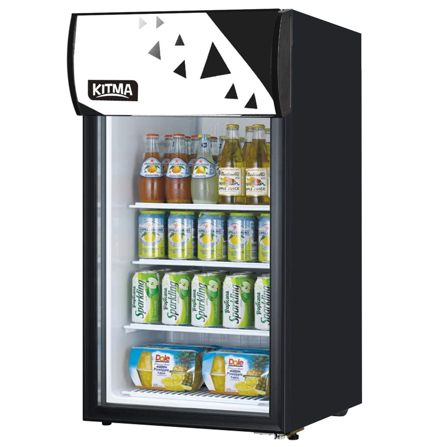 KITMA 120 Can Beverage Cooler and Refrigerator - Small Mini Fridge with Glass Door for Beer, Soda, Wine - 3 Cu. Ft Drinks Fridge for Office, Bar