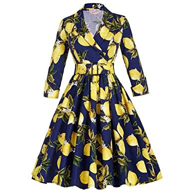 KeKeD23921 Women Floral Vintage Dress Lemon Print Party Dress Style Rockabilly Dress Vestido Luxury Pleated Vintage Dresses at Amazon Womens Clothing store ...