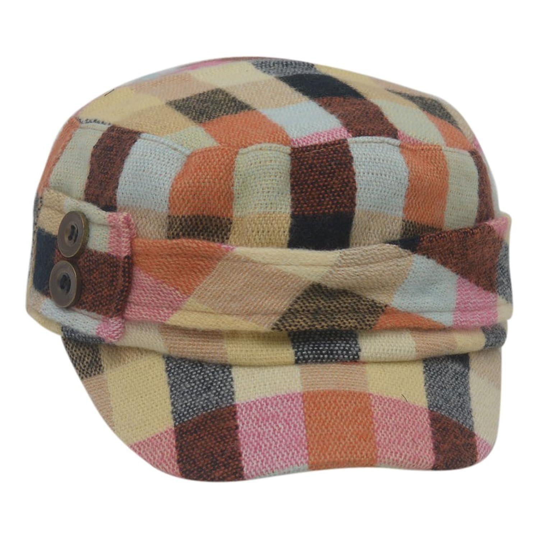 5dbe53f791f Girls Multi Color Plaid Patterned Button Narrow Brim Tweed Hat Cap ...