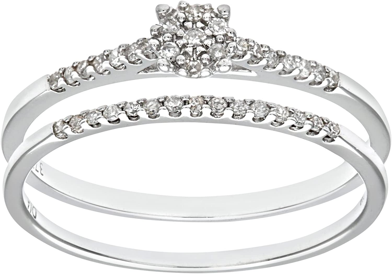 Naava Ensemble Bague de fian/çailles et alliance Femme 9 Cts Diamant 1.7 Gr Or Blanc 375//1000