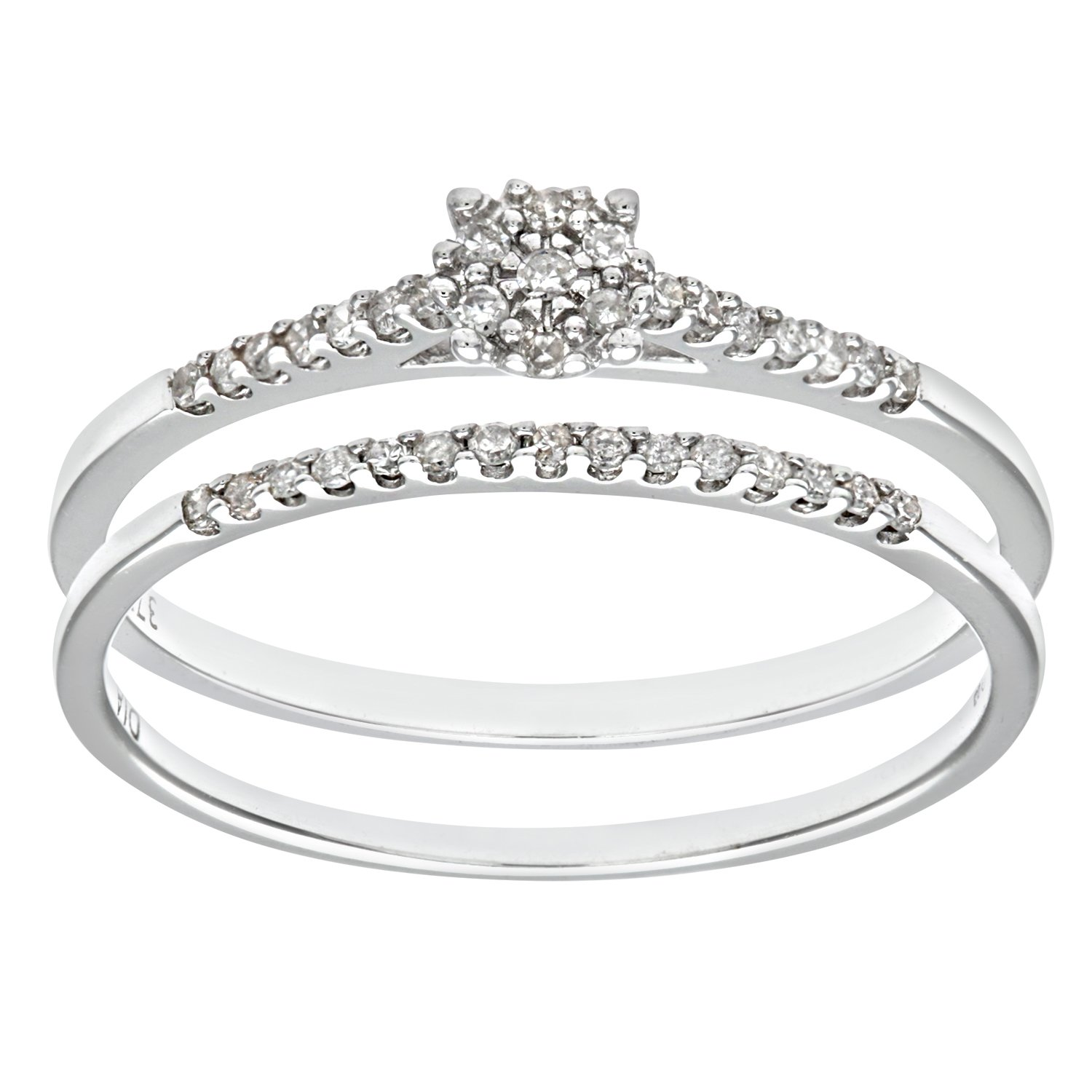 Naava 9ct White Gold 0 07ct Diamond Bridal Set Cluster Ring