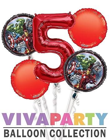 Amazon.com: Avengers Balloon Bouquet 5 piezas, 5 cumpleaños ...