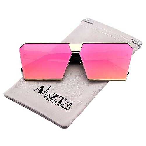 AMZTM Cuadrado Metal Montura Reflejado Moda Rojo Lentes Oversized Polarizadas Gafas De Sol Para Mujer