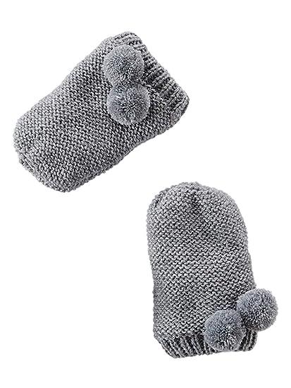 VERTBAUDET Ensemble bonnet + moufles + tour de cou chouette bébé fille Gris  chiné 3  74baa554de0