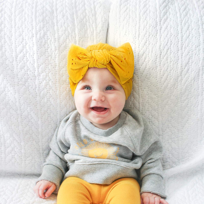 lace Nylon Baby Headband and yellow gauze Yellow floral gauze