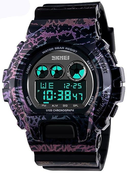 kimuk Hombres LED Digital militares relojes 50 m Buceo Natación camuflaje morado reloj deportes al aire