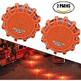 Plextone LED Alerta de Emergencia Road Flares (2 Unidades) múltiples Modos Intermitentes para Coche y vehículos Marinos fácil de reemplazar la batería