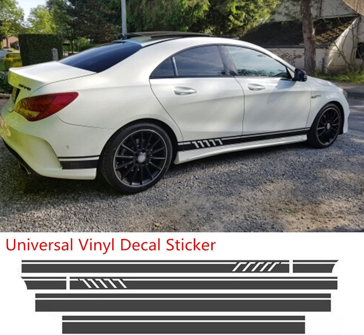 2Pcs Black Car Racing Sport Strip Vinyl Door Sticker Side Decor DIY Accessory