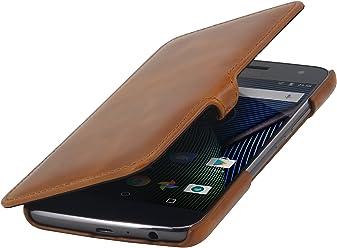 StilGut Book Type Case con Clip, custodia a libro booklet in vera pelle per Lenovo Moto G5 Plus, Cognac