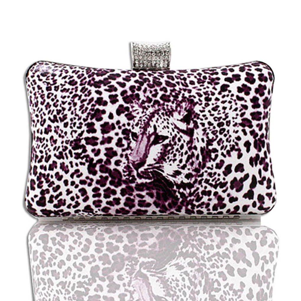 Kaxidy Fashion Leopard Evening Bag Purses Clutch Bag Handbag (Purple)