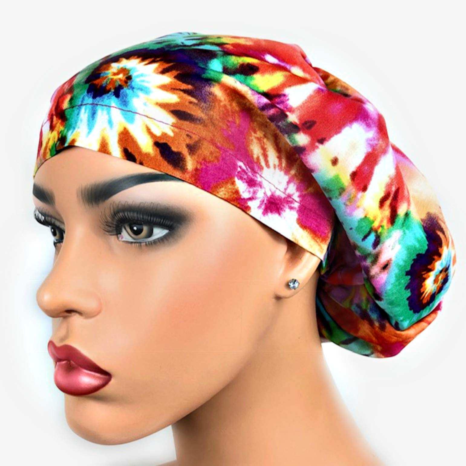 Womens Surgical Scrub Hat OR Nurse Cap Euro Style Pink Multicolored Tie Dye by DK Scrub Hats
