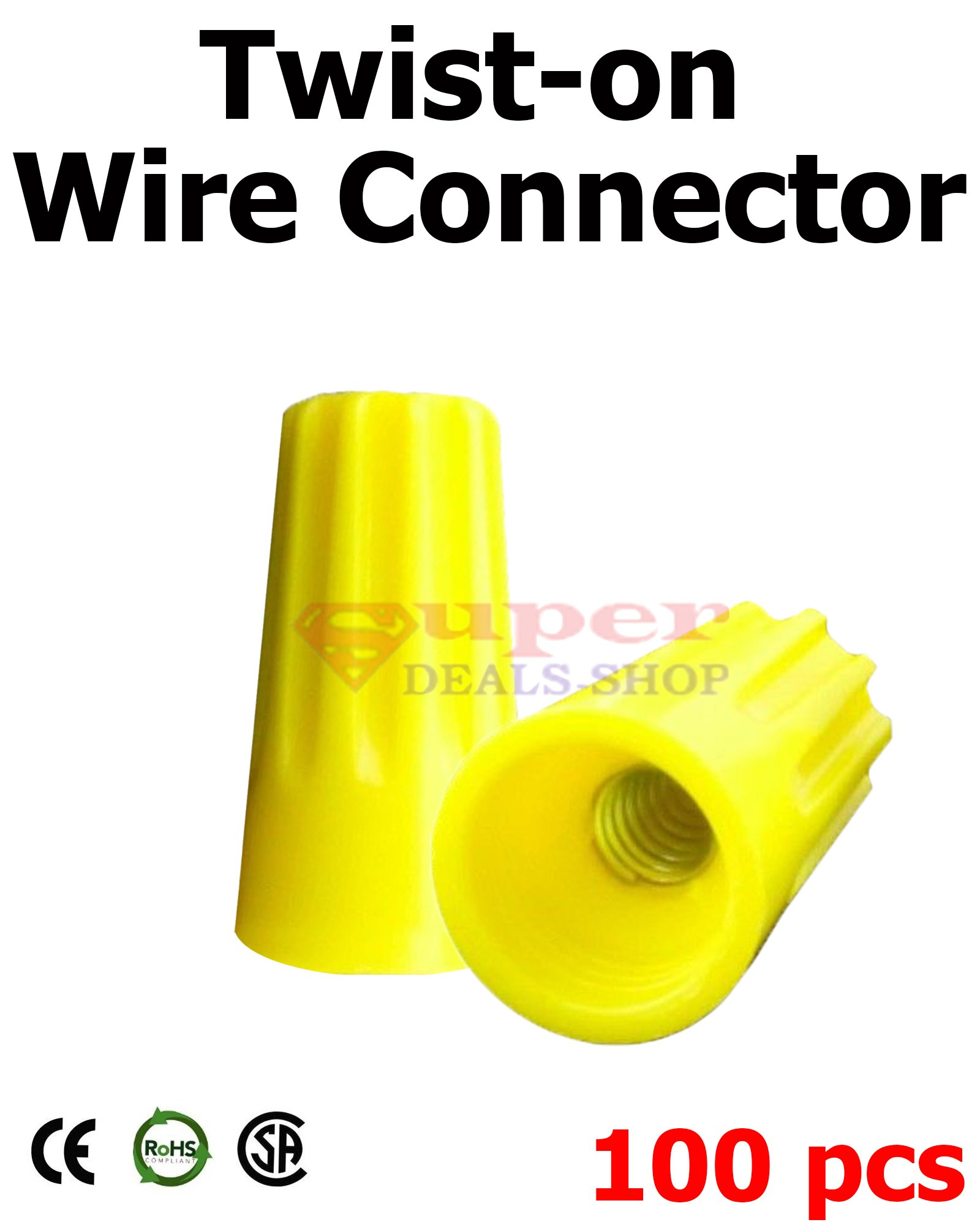 100 Pcs Yellow Wire Connector Twist On Wire Caps Easy Screw On Cap Wire Connector Wire Nuts 18-12 Gauge Super-Deals-Shop