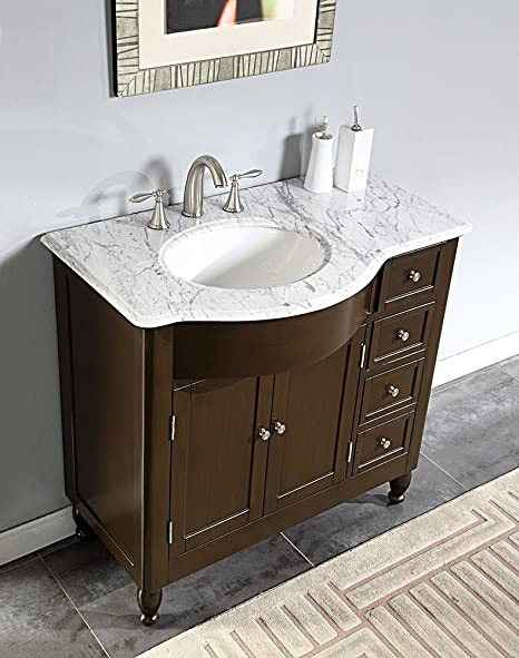 38 Bathroom Vanity Marble Top Left Side Sink Cabinet 902wl Amazon