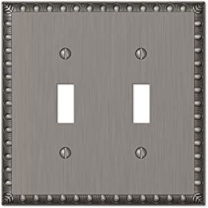 Amerelle Egg & Dart Double Toggle Cast Metal Wallplate in Antique Nickel