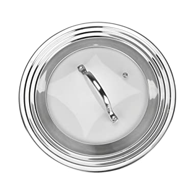 Universal Lid Stainless Steel 18/8 and Tempered Glass, Fits All 7  to 12  Pots and Pans, Replacement Frying Pan Cover and Cookware Lid