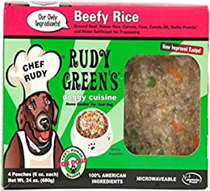 Rudy Green'S Doggy Cuisine Home Cooking For Dogs Beefy Rice Frozen Human Grade Dog Food 5 Boxes (7.5 Lbs Total, 20 Pouches Each 6 Oz)