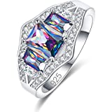 Narica Charming 925 Silver Plated Emerald Cut Rainbow Topaz 3-Stones Women Engagement Ring