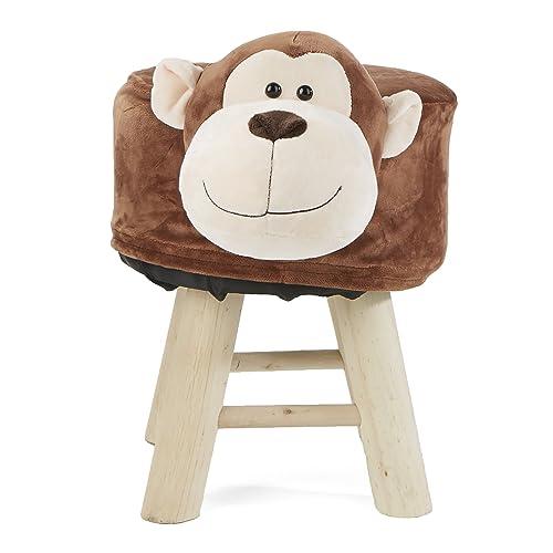 Mind Reader MONKOTTO-BRN Children s Favorite Monkey Animal Stool, Chair, Ottoman, Foot Rest, Brown