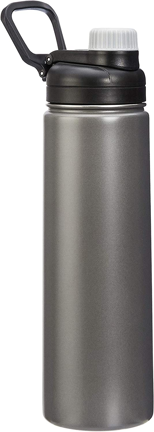 AmazonBasics Stainless Steel Insulated Water Bottle with Spout Lid – 20-Ounce, Grey