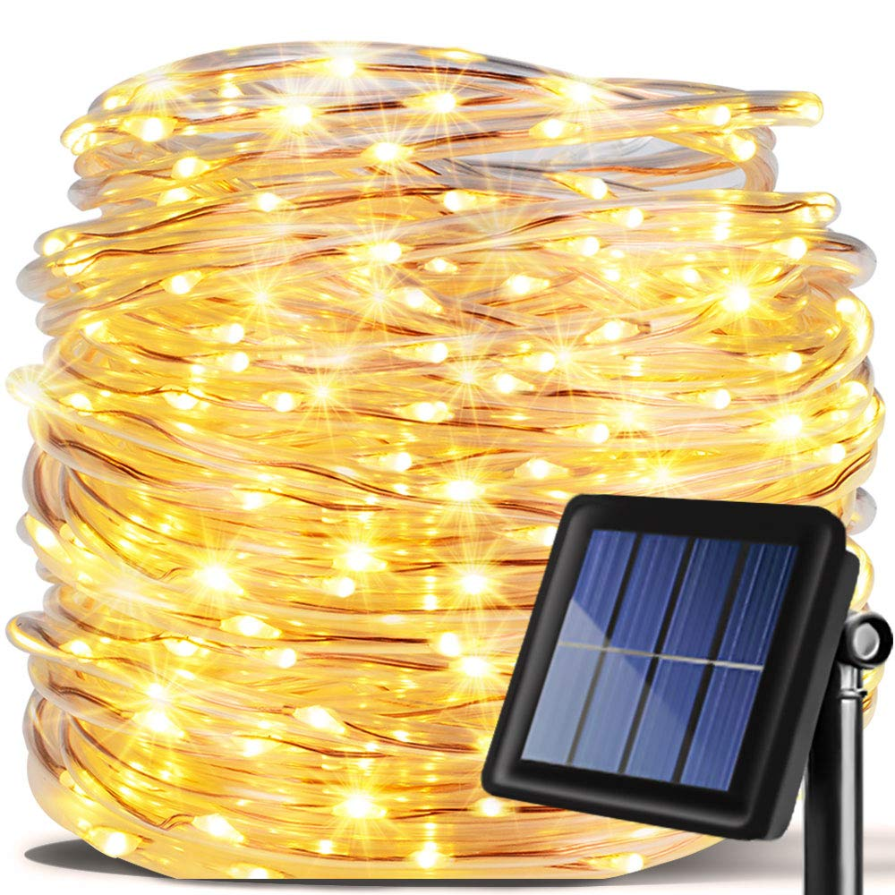 Solar Rope lights, Fairy String lights Waterproof 33ft/10m 100LED Solar Powered  Firefly lights Thanksgiving  with PVC Tube Cover for Christmas Tree, Wedding, Party, Garden, Lawn, Patio (Warm White) by Warmtaste