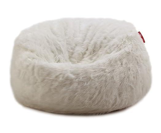 LARGE LUSH SOFT WHITE FOX FAUX FUR BEAN BAG CLOUD CHAIR COVER