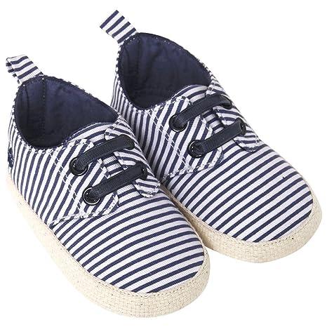 JoJo Maman Bébé D2207NES612 - Alpargatas bebé, rayas, azul marino/de color crudo