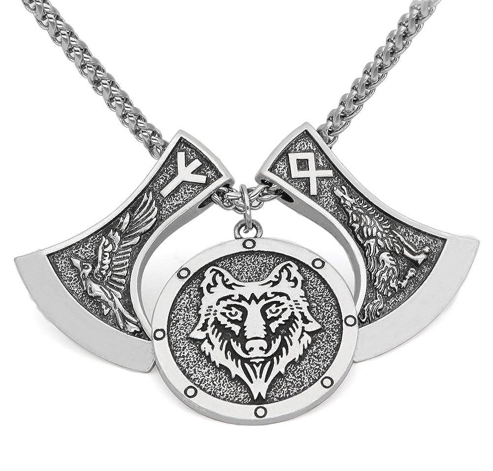Collar con Colgante de Lobo y Corre Triste para Hombre con dise/ño de Lobo y Rana de olores n/áuticos LoverInDec Men viking nordic odins wolf and raven rune pendant necklace LoverInDece