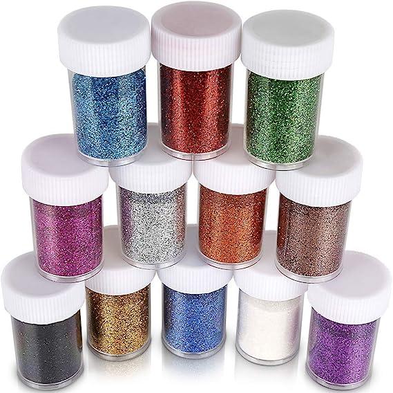 Contican 6pcs Glitter Shake Jars Set Kit Extra Fine Glitter Art Supply DIY Handmade Slime Kit for Scrapbooking Party Crafts