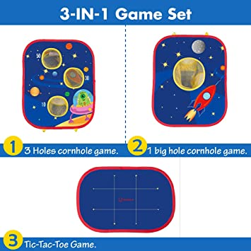 Christmas Portable Collapsible Cornhole Game 3 in 1 Tic Tac Game Indoor Outdoor Toys for Toddlers Ages 4-8 Space Adventure Theme Gift for Boys Birthday Ellolla Bean Bag Toss Game for Kids