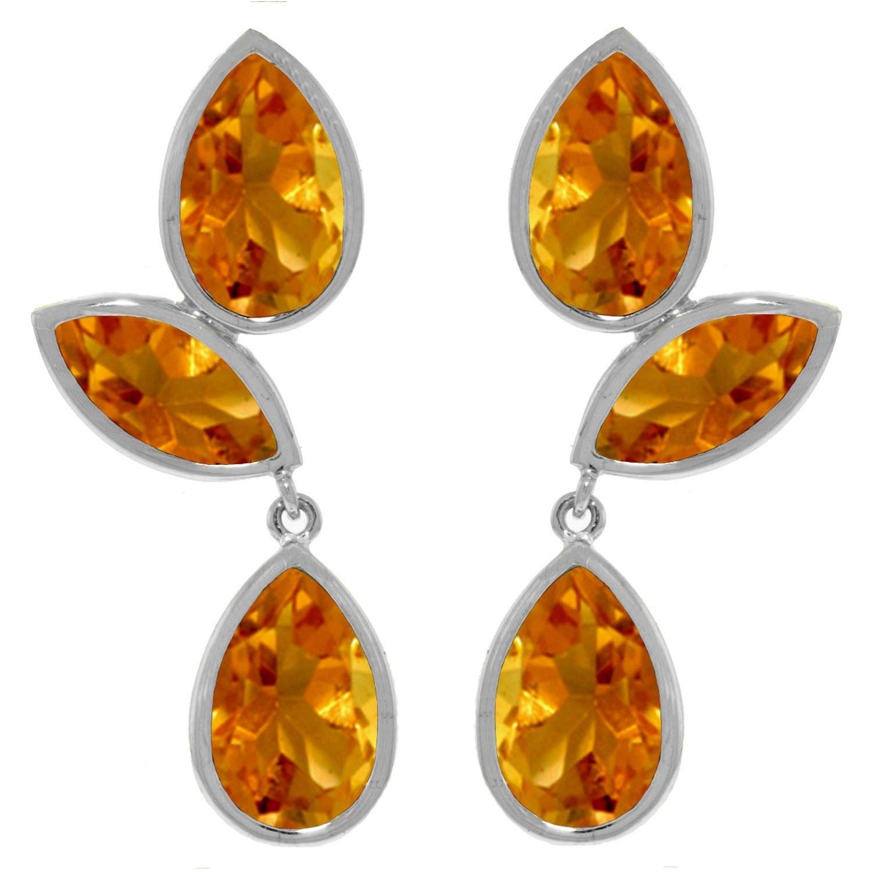ALARRI 13 Carat 14K Solid White Gold Love In My Hand Citrine Earrings