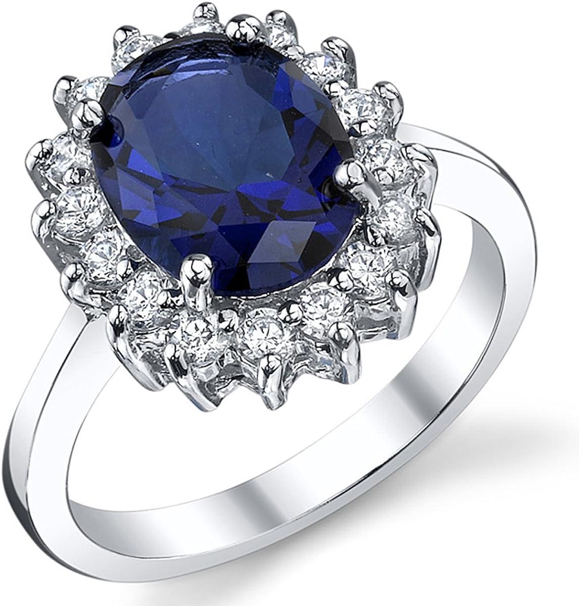 Princesse Diana William Kate Bagues Gemme Bleu Saphir Mariage Fiançailles 925