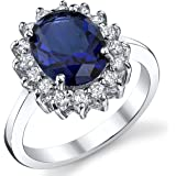 Solid Sterling Silver Kate Middleton's Engagement Ring with Simulated Sapphire Blue Color Cubic Zirconia