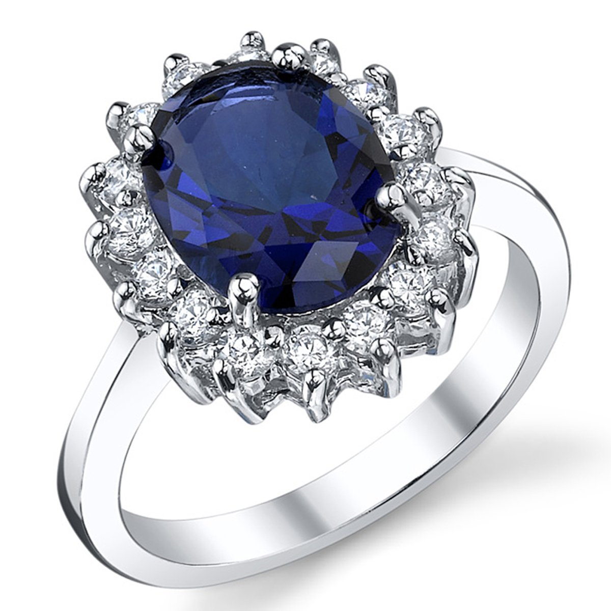 Solid Sterling Silver Kate Middleton's Engagement Ring with Simulated Sapphire Blue Color Cubic Zirconia SILR6