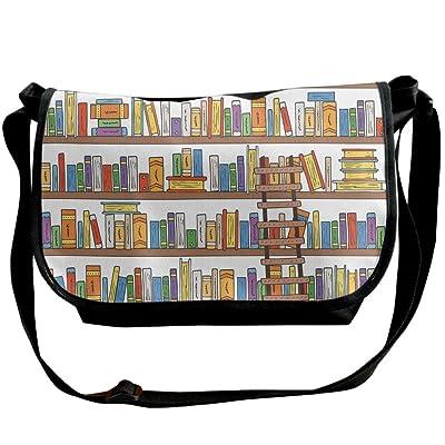 80%OFF Lovebbag Library Bookshelf With A Ladder School Education Campus Life Caricature Illustration Crossbody Messenger Bag