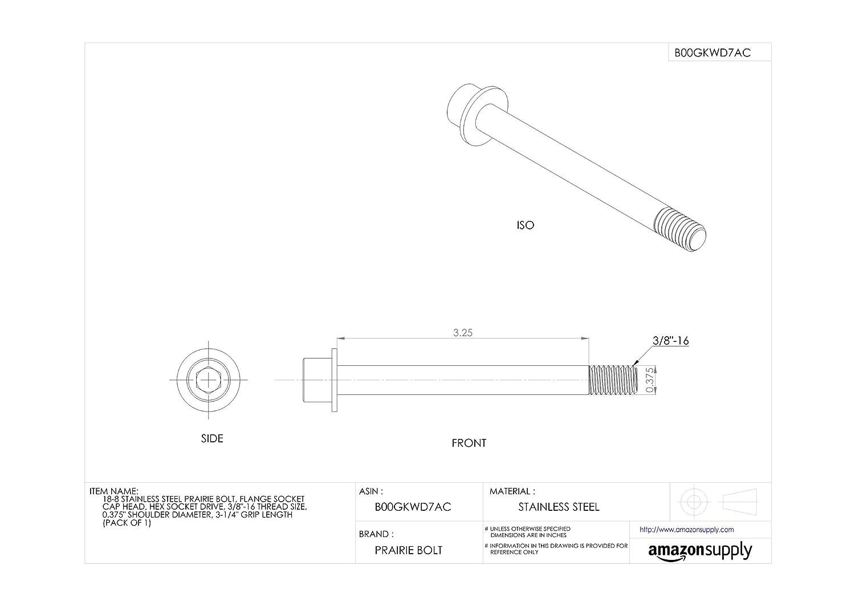 18-8 Stainless Steel Prairie Bolt Pack of 1 Hex Socket Drive Plain Finish 0.375 Shoulder Diameter 3//8-16 Thread Size 3-1//4 Grip Length Flange Socket Cap Head Made in US